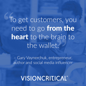 """""""To get customers, you need to go from the heart to the brain to the wallet."""" – Gary Vaynerchuk, entrepreneur, author and social media influencer"""