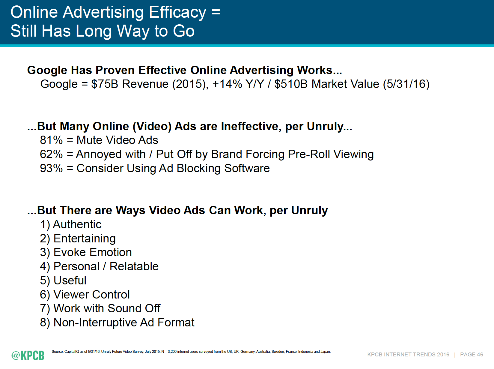 Authentic video ads win - Mary Meeker Internet Trends Report