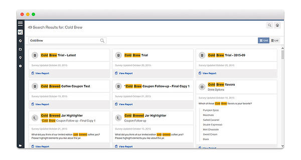 Search in Sparq, Vision Critical's customer intelligence platform