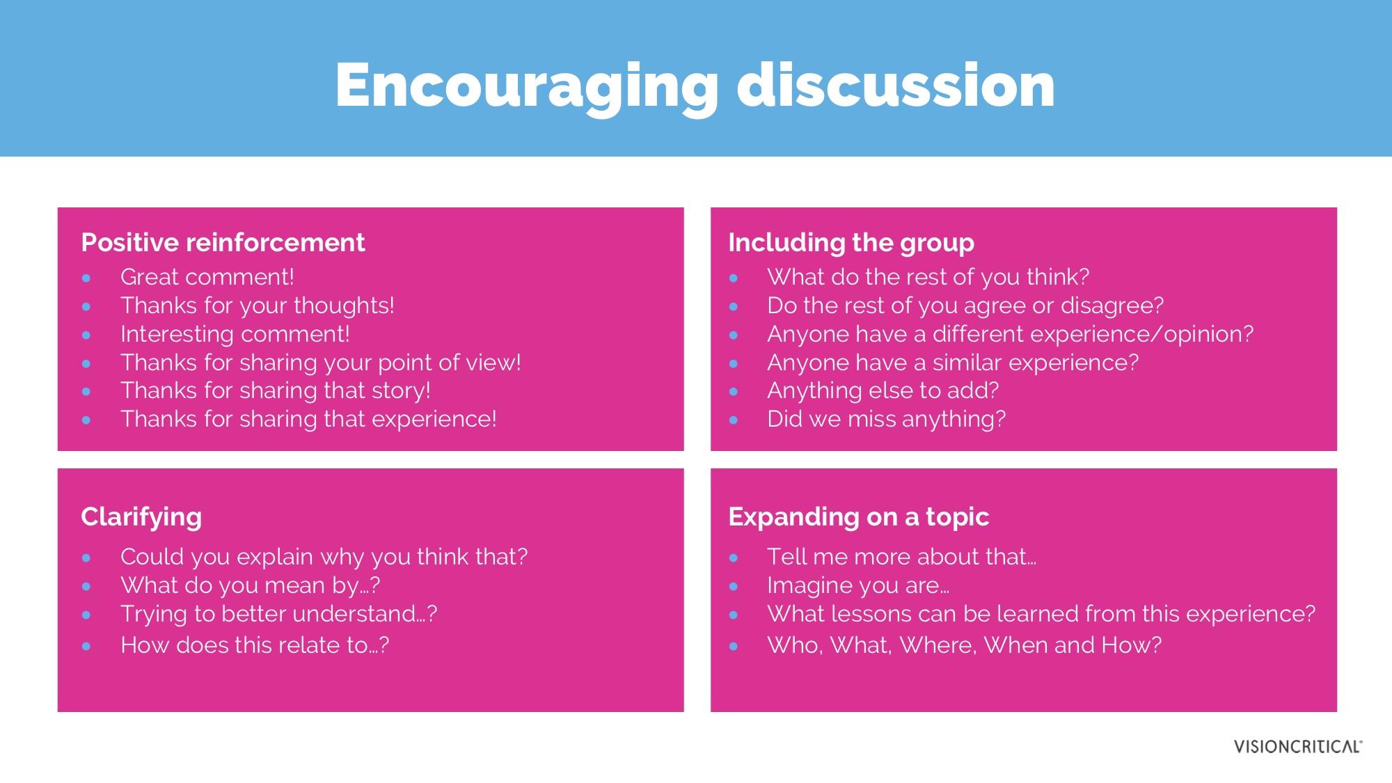 Encouraging discussion