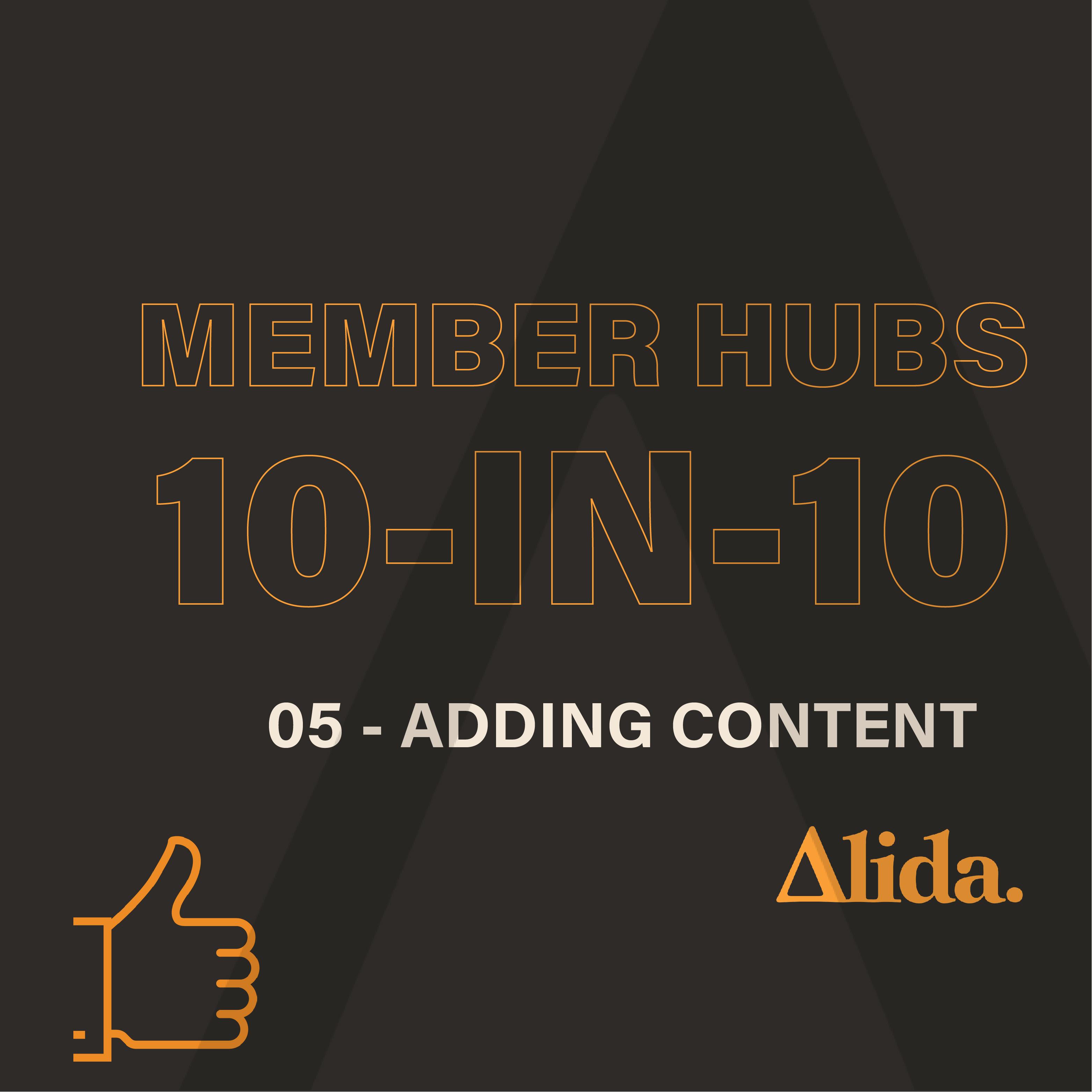 Member Hubs: Adding Content
